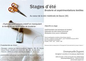 stage de broderie création textile Emmanuelle Dupont
